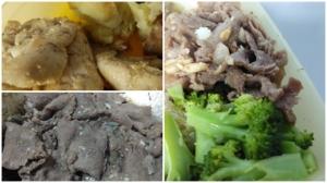 ayam versi bumbu merica dan daging sapi versi teriyaki.