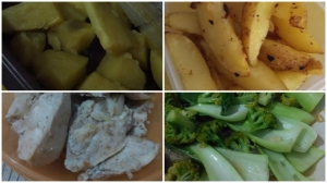 ubi kukus, kentang gorwng, ayam lada, brokoli bakcoy bumbu bawang.