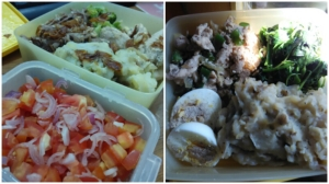 kentang tumbuk buat variasi, daging sapi bumbu wijen, dan sambal dabu-dabu.