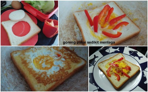 - roti tawar dilubangi tengahnya - panaskan penggorengan setelah diberi margarin - masukkan roti tawar yang berlubang, disusulkan telur ceplok ditengah lubang - goreng hingga telur matang/setengah matang