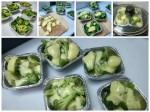 rangkaian membuat brokoli mozzarela kukus/panggang.