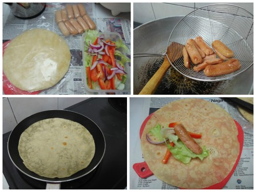 langkah sederhana membuat tortilla isi salad & sosis.